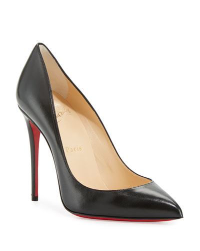 Pigalle Follies Leather 100mm Red Sole Pumps  Black