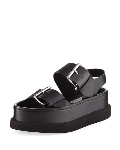 Sandalo Faux-Leather Buckle Sandal, Black