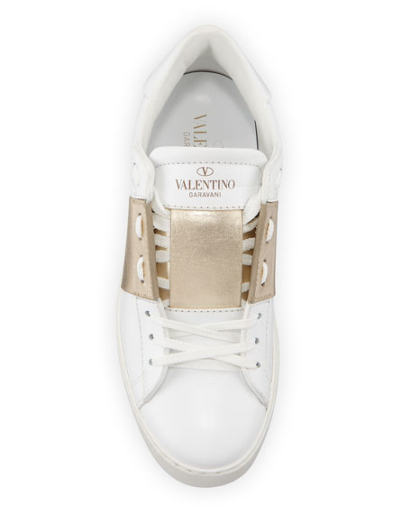 Open Metallic-Band Sneakers, Bianco/Platinum
