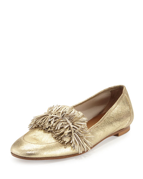 Aquazzura Wild Metallic Fringe Loafer, Light Gold