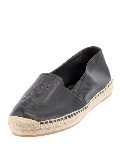 Leather Logo Espadrille Flat  Nero