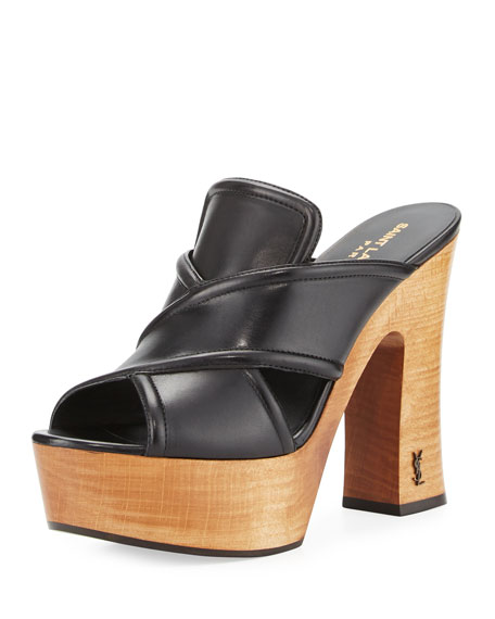 Saint Laurent Crisscross Leather Clog Sandal, Nero