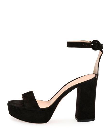 Coco Suede Platform Ankle-Wrap Sandal