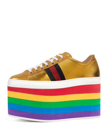 Gucci Peggy Leather Platform Sneaker, Rainbow/Gold