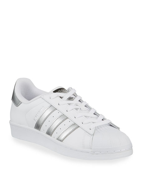 Adidas Superstar Original Fashion Sneaker, White/Silver