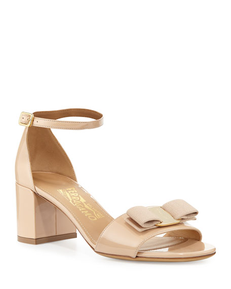 Salvatore Ferragamo Gavina Bow Patent City Sandals, Bisque