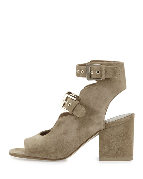 Noe Suede Double-Buckle Sandals, Beige