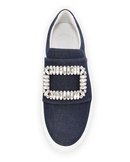 Sneaky Viv Denim Strass Buckle Sneaker, Dark Blue