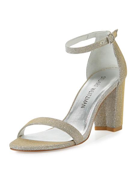 Stuart Weitzman Nearlynude Shimmery City Sandal, Magnesium