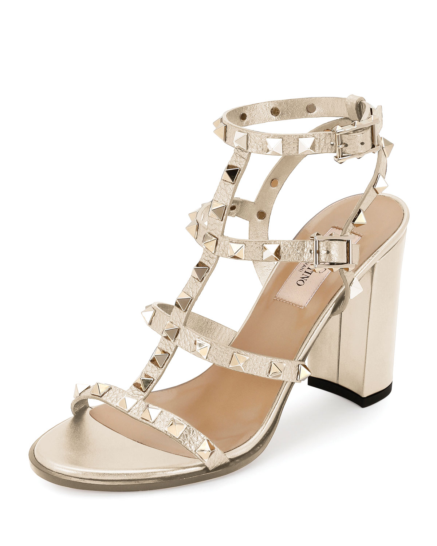 57e395ec96b52 Valentino Garavani Rockstud Leather 90mm City Sandals