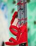Pompom Fringe Ankle-Tie Wedge Sandal