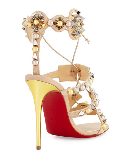 Kaleikita Spiked Lace-Up 100mm Red Sole Sandal, Version Doudou