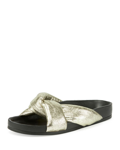 Chloe Leather Crisscross Slide Sandals, Gray Glitter