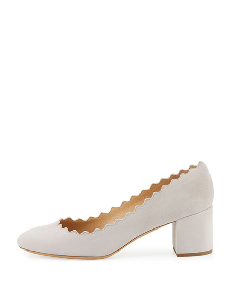 Lauren Scalloped Suede Block-Heel Pump