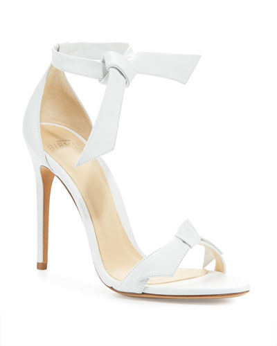 Clarita Knotted Leather Sandals  White