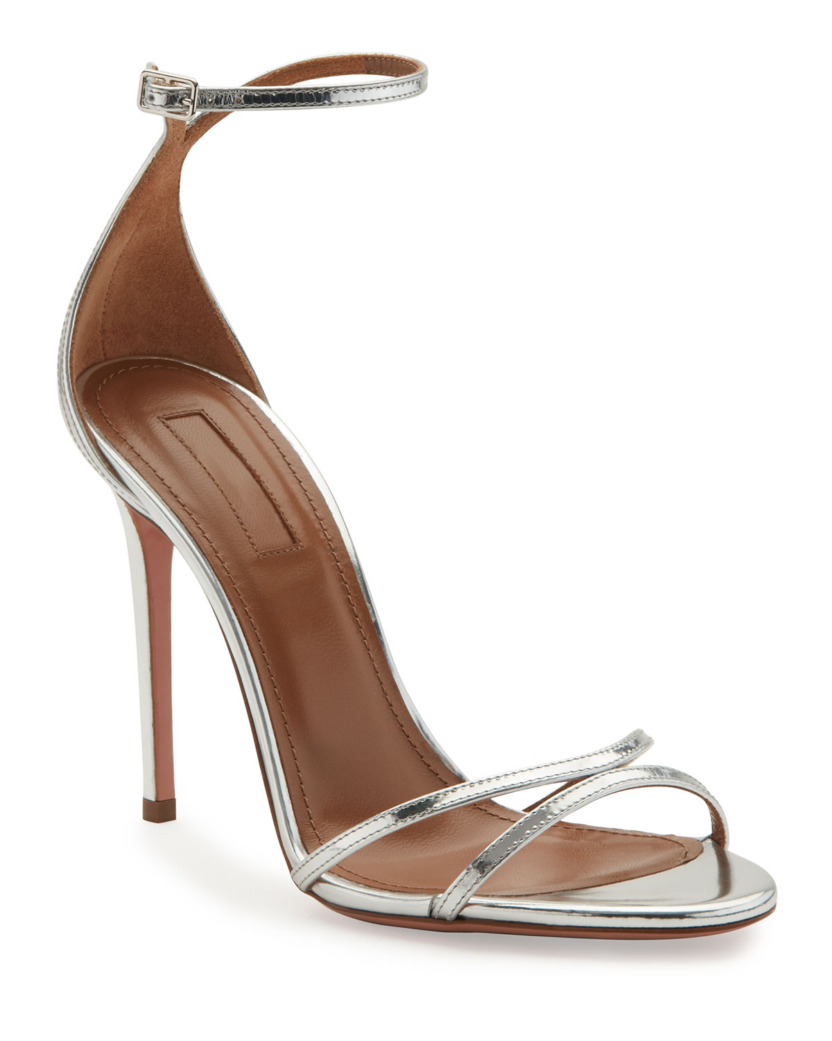 Aquazzura Purist Metallic Specchio Sandals Silver