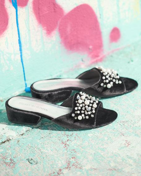 Decorslide Embellished Velvet Sandal