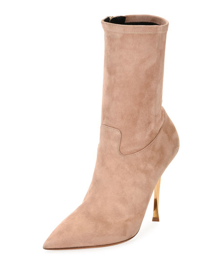 Stretch-Suede Point-Toe Mid-Calf Boots