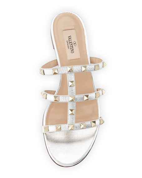 Rockstud Leather Flat Slide Sandals