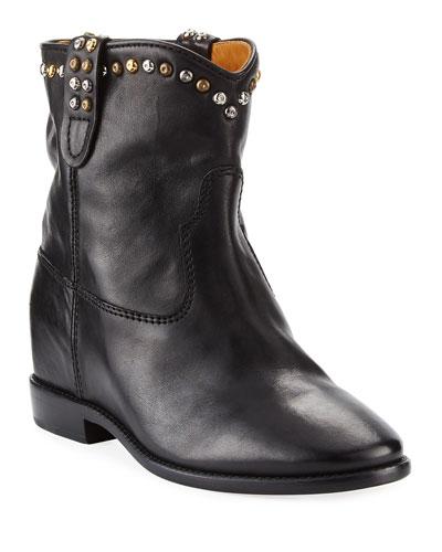 Cluster Hidden-Wedge Western Boots  Black