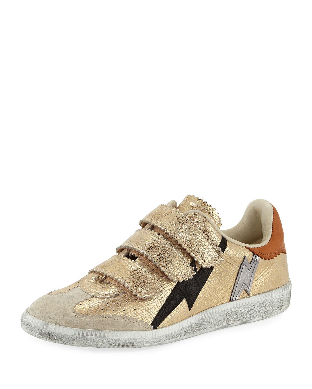 3de8a0ad02 Isabel Marant Beth Metallic Lightning Bolt Sneaker | Neiman Marcus