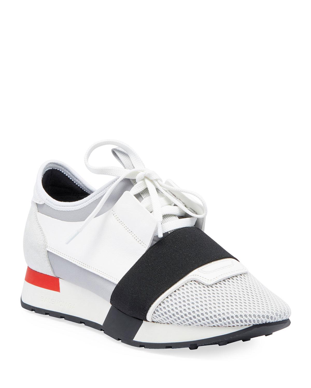 ccf10b54a0a53 Balenciaga Mesh & Leather Sneakers, White/Black/Gray | Neiman Marcus