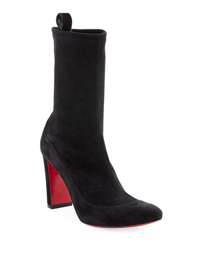 Gena Stretch Suede Midi Boots  Black
