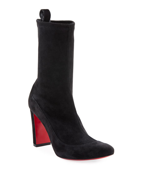 Christian Louboutin Gena Stretch Suede Midi Boots, Black