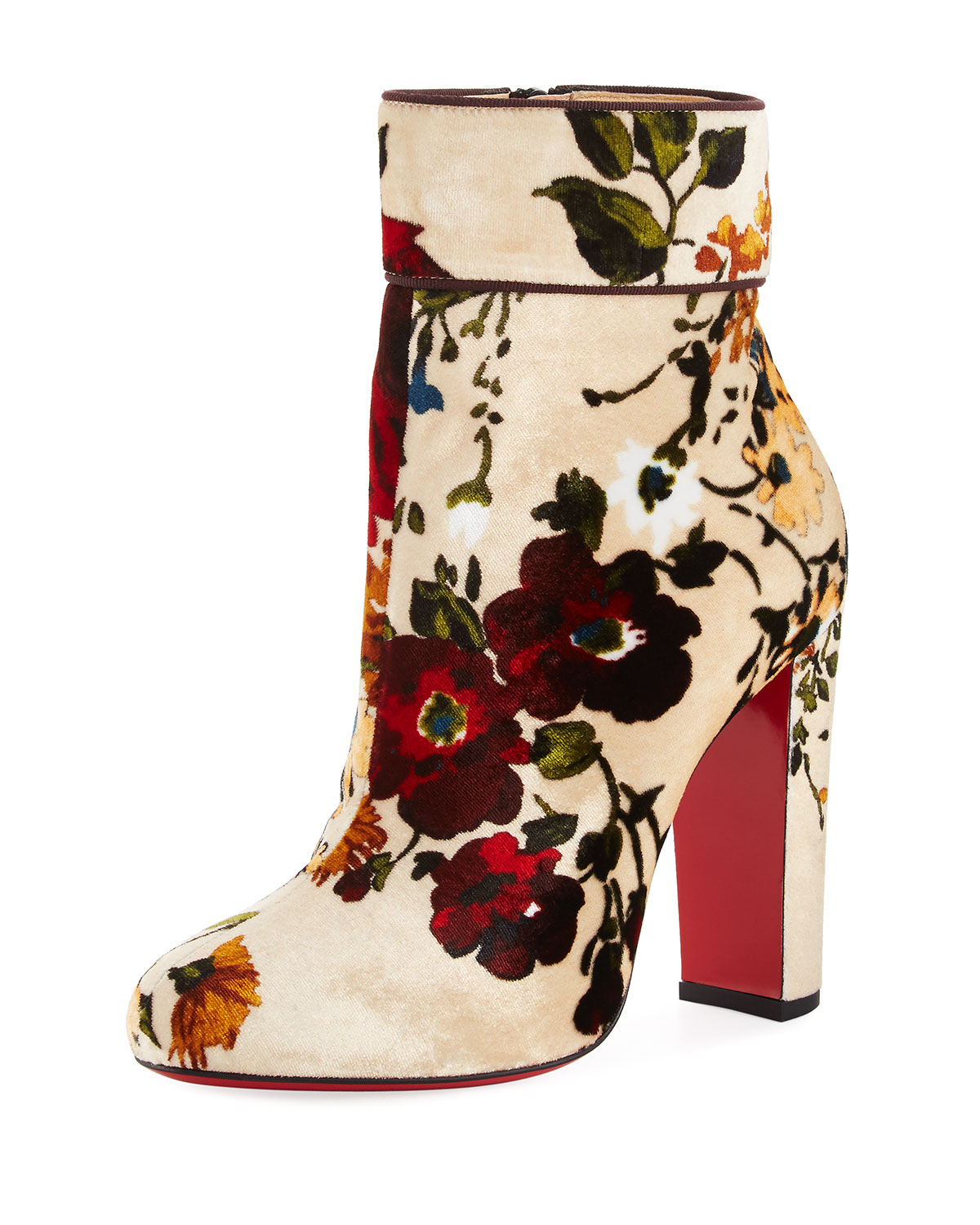 b5b2e44ac34 Moulamax Floral Velvet 100mm Red Sole Bootie