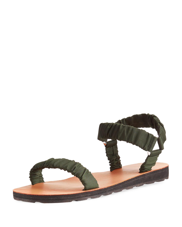 05d802744618d THE ROW Egon Ruched Nylon Flat Sandal