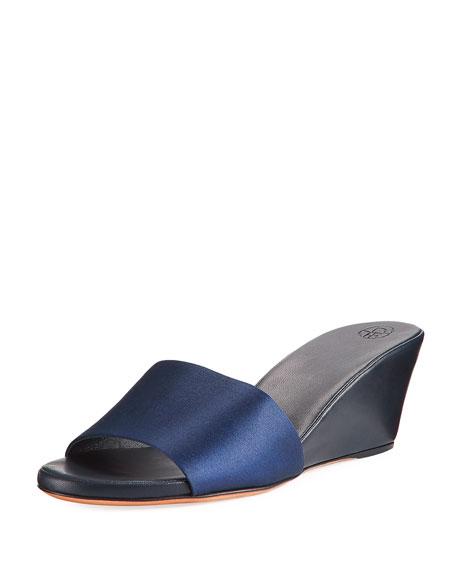 Daisy Satin Wedge Mule Sandal, Navy
