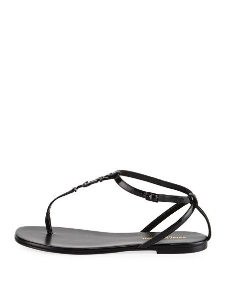 Monogram Patent Flat Thong Sandal, Black