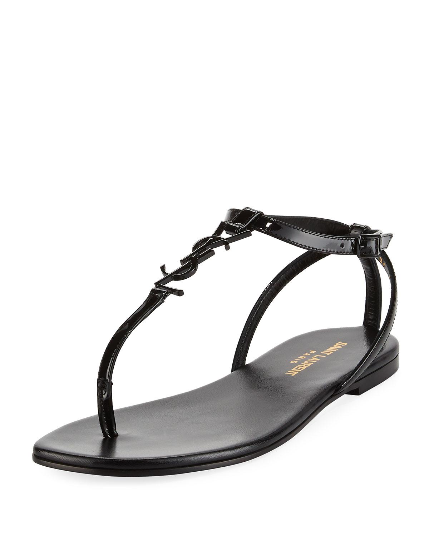 9b0dec39434 Saint Laurent Monogram Patent Flat Thong Sandal