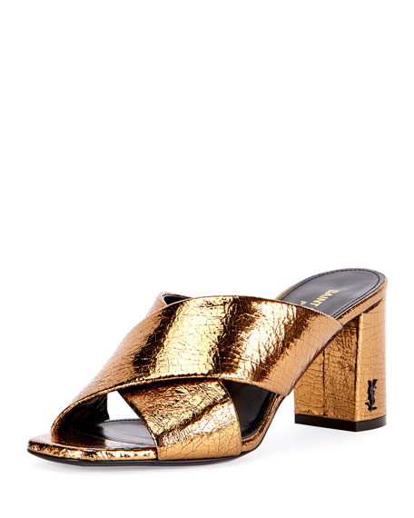 Saint Laurent LouLou Crinkled Metallic Slide Sandal