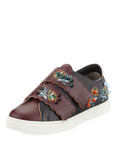 Fendi Embroidered Grip-Strap Sneaker, Black