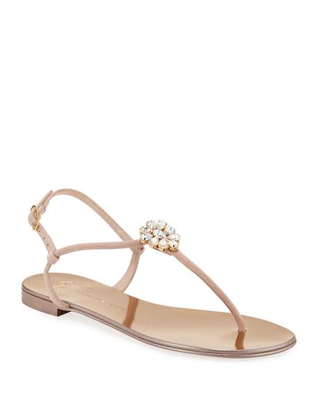Crystal-Embellished Flat Thong Sandals