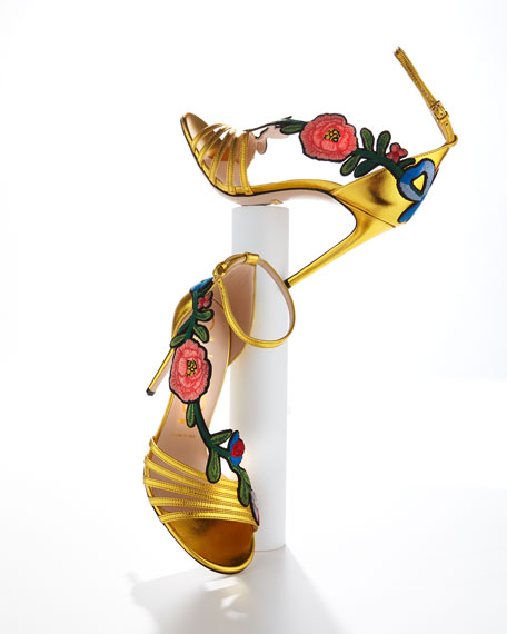 Gucci 105mm Ophelia Embroidered Sandal