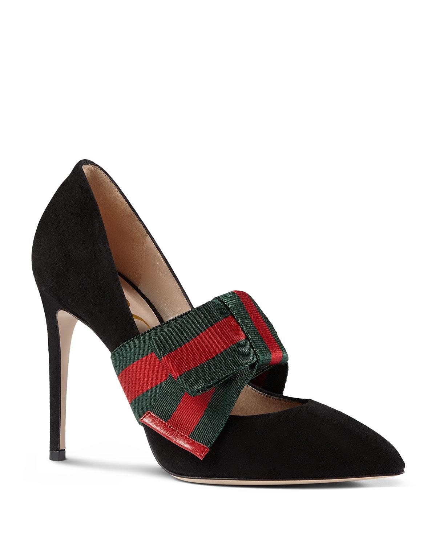 797eddd6f Gucci Sylvie Suede Web Mary Jane Pumps, Black | Neiman Marcus