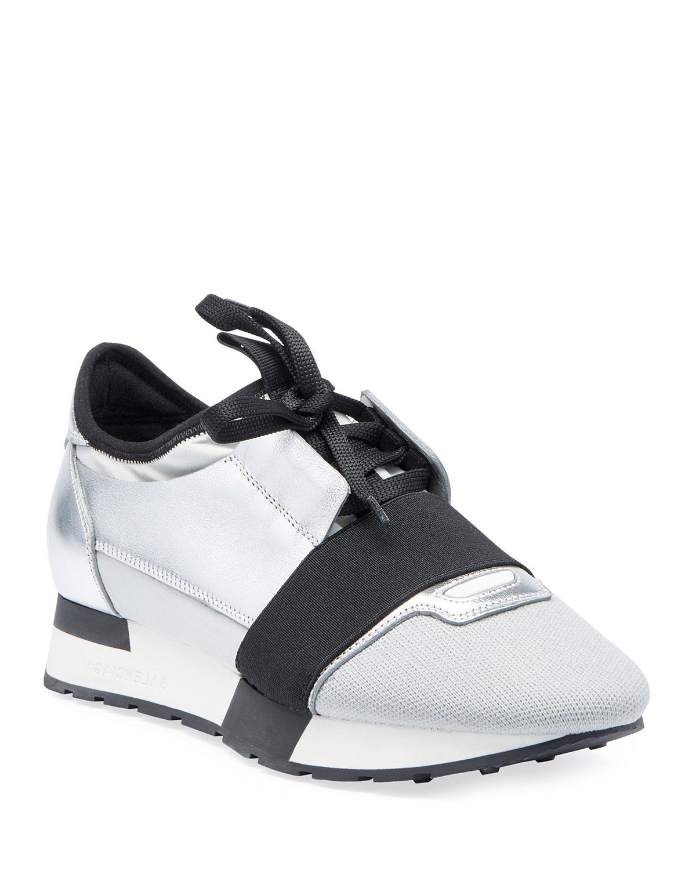 0531e3d8f5ab6 Balenciaga Matelasse Metallic Sneakers, Argent | Neiman Marcus