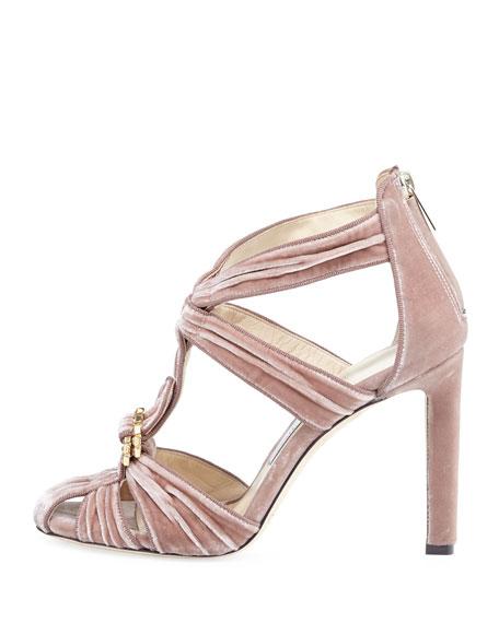 Krissy Embellished Velvet  Sandal