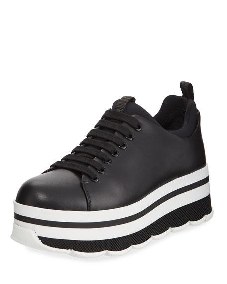 Sneakers - Platform Sneakers Leather Black - black - Sneakers for ladies Prada vkN9gloYd