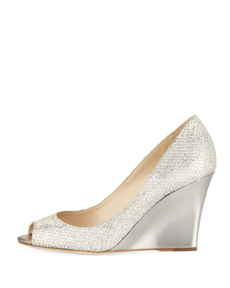 Image 2 of 4: Baxen Glitter Peep-Toe Wedge Pump