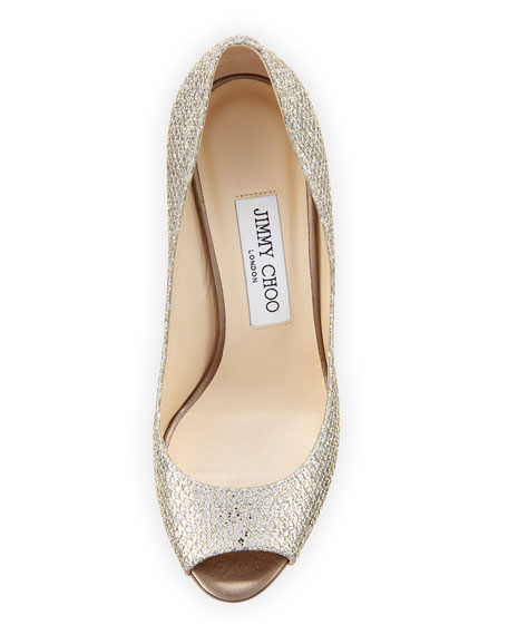 Image 3 of 4: Baxen Glitter Peep-Toe Wedge Pump