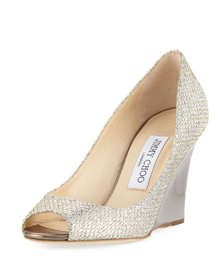Image 1 of 4: Baxen Glitter Peep-Toe Wedge Pump