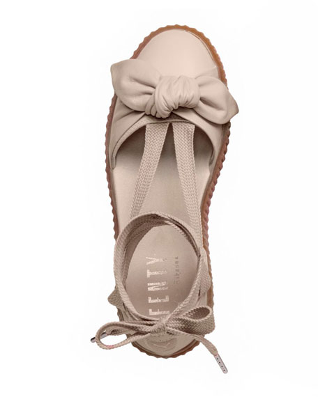 Leather Bow Creeper Sandal, Pink Tint