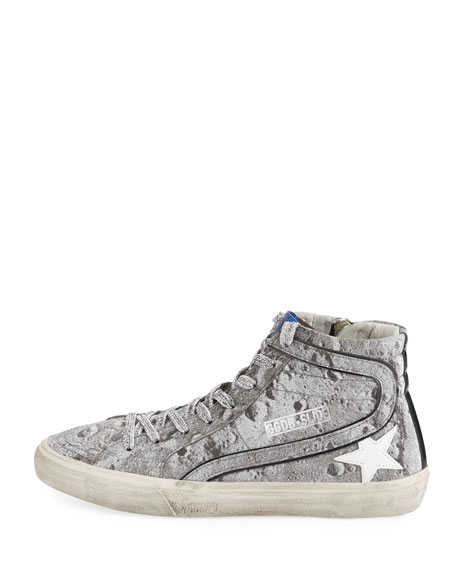 Slide Distressed Glitter High-Top Sneakers
