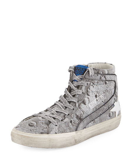 e11400e283c7 GOLDEN GOOSE SLIDE DISTRESSED GLITTER HIGH-TOP SNEAKERS, SILVER