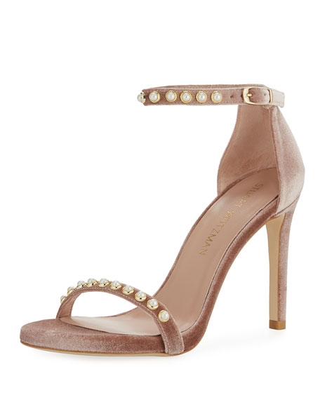 Nudistpearls Embellished Velvet Sandal