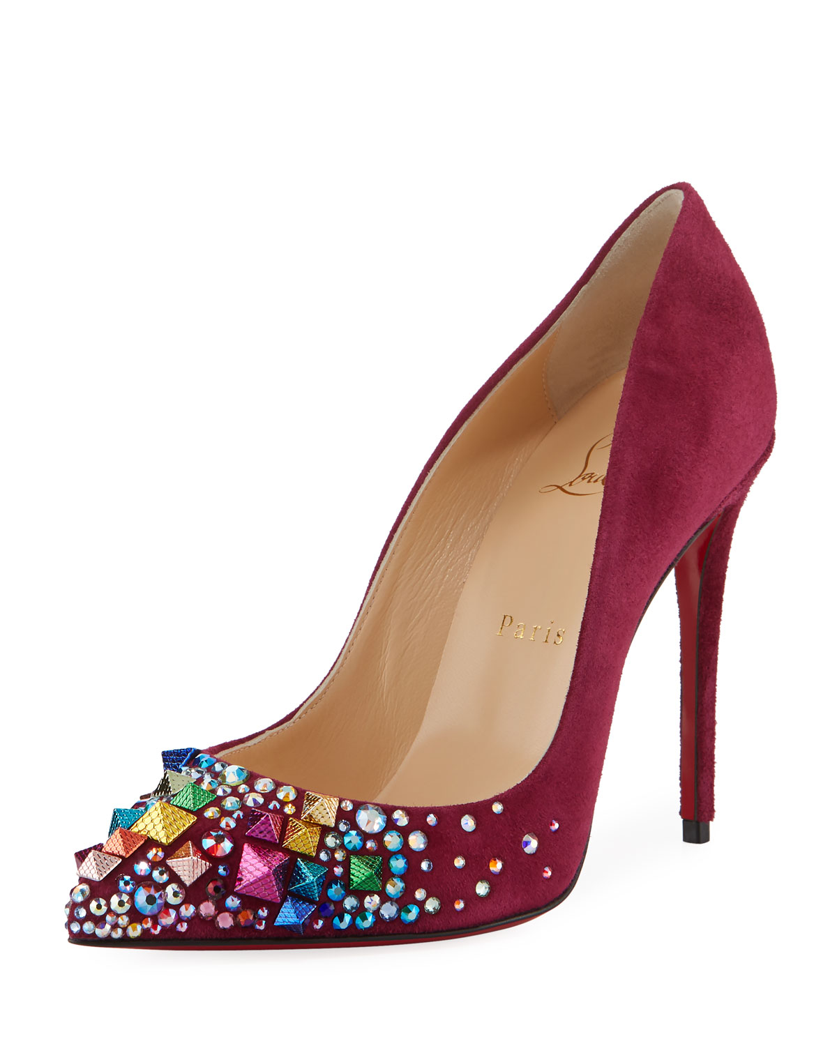 133524b145e2 Christian Louboutin Keopomp Velours Embellished Red Sole Pump ...
