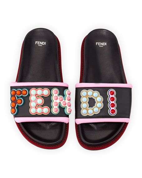 Fun Fair Flat Slide Sandal, Black